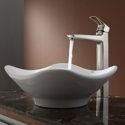 Kraus White Tulip Ceramic Sink and Virtus Faucet