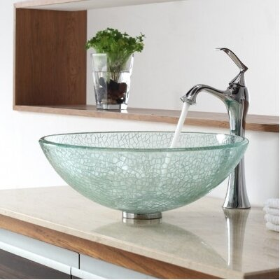 Kraus Broken Glass Vessel Bathroom Sink with Single Handle Single Hole Faucet