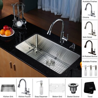 "Kraus 28"" x 16"" Undermount Single Bowl Kitchen Sink with Faucet and Soap Dispenser"