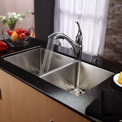 "Kraus 32.75"" x 19"" Undermount 70/30 Double Bowl Kitchen Sink with Faucet and Soap Dispenser"
