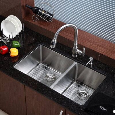 Kraus One Handle Centerset Kitchen Faucet with Soap Dispenser