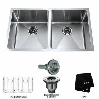 "Kraus 32.75"" x 19"" Undermount Double Bowl Kitchen Sink"