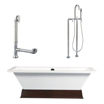 Giagni Tella 67&quot; Contemporary Tub with Floor Mount Faucet and Lever Handles