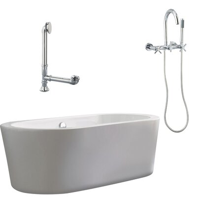 "Giagni Ventura 67"" Apron Tub with Wall Mount Faucet and Cross Handles in Polished Chrome"