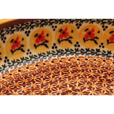 "Euroquest Imports Polish Pottery 11"" Oval Baking Pan - Pattern DU70"