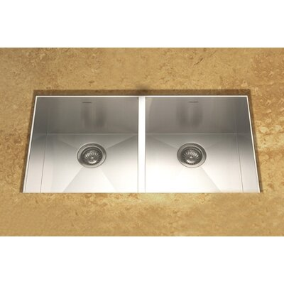 Houzer Contempo Zero Radius Undermount Double Bowl 50/50 Kitchen Sink in Brushed Satin