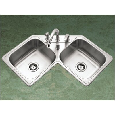 Houzer Legend Topmount Corner Bowl Kitchen Sink in Satin