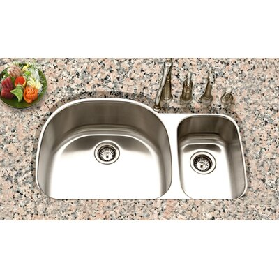 Houzer Eston Undermount 70 / 30 Double Bowl Sink in Stainless Steel