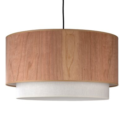 Lights Up! Woody Drum Pendant Lamp with Round Canopy in Brushed Nickel