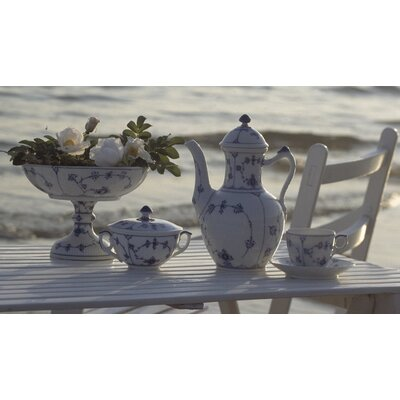 Blue Fluted Plain Dinnerware Set