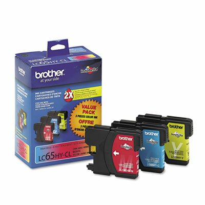 Brother Lc653Pks (Lc-65) High-Yield Ink, 900 Page-Yield, 3/Pack