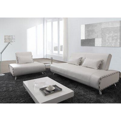 Hokku Designs Essence Leatherette Convertible Sofa Bed and Chair Set