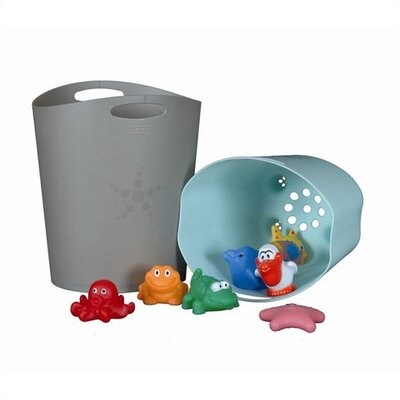 Mebby Bath Toy Storage in Ice Blue & Grey