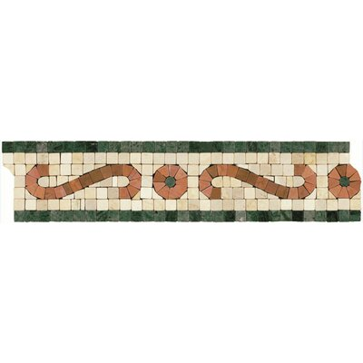 "Shaw Floors Mosaic 12"" x 3"" Scroll Listello Tile Accent in Rust / Green"
