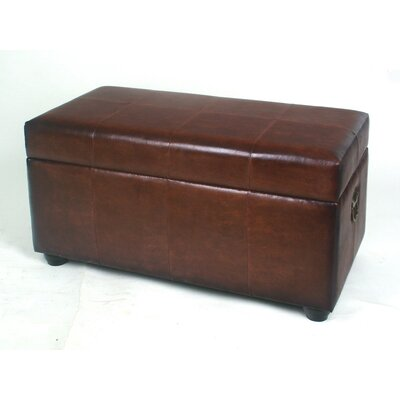 International Caravan Leather Bedroom Storage Ottoman