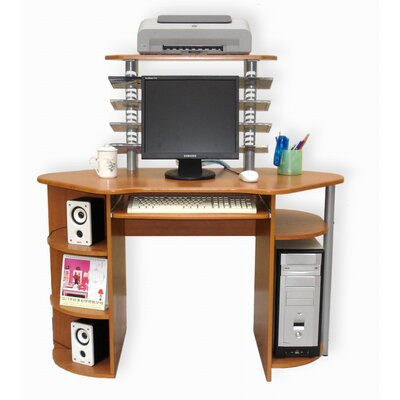 International Caravan Wood Top 3-Level Computer Desk