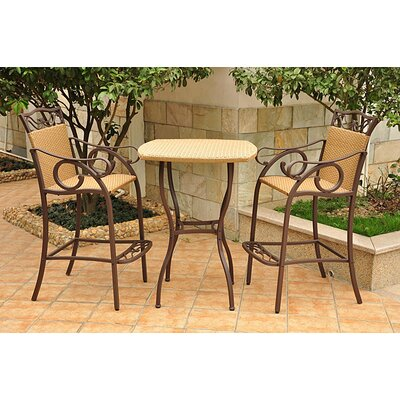 International Caravan Valencia 3 Piece Bistro Bar Height Set