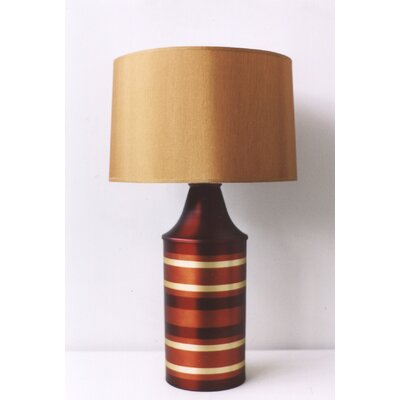 Babette Holland Striped Apollo Table Lamp in Raku with Gold Shade