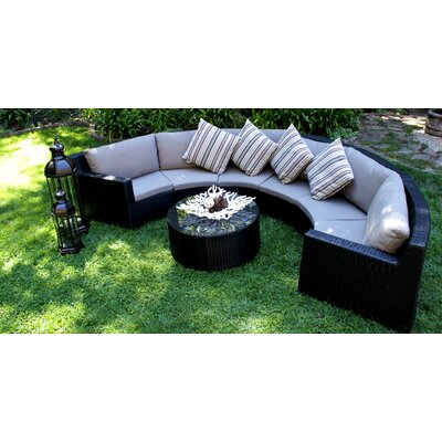 Caluco LLC Half Round Pond 7 Piece Sectional Deep Seating Group with Cushions