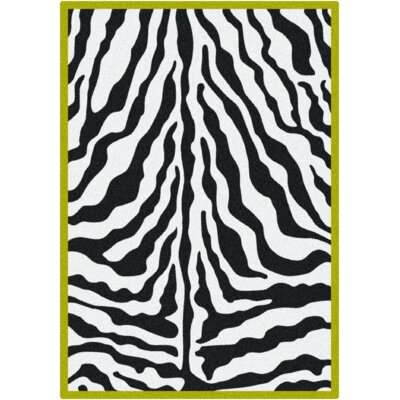 Black & White Zebra Glam Citrus Green Rug