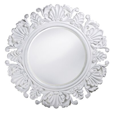 Howard Elliott Anita Round Framed Mirror in White