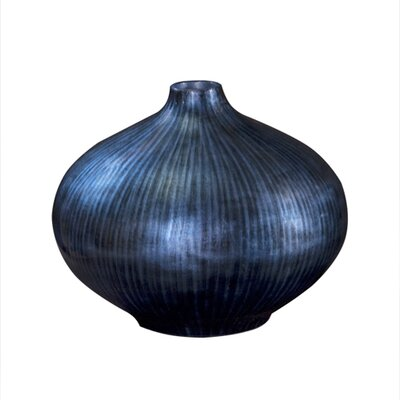 "Howard Elliott Arctic Blue Lacquered Wood 8"" Tall Vase"