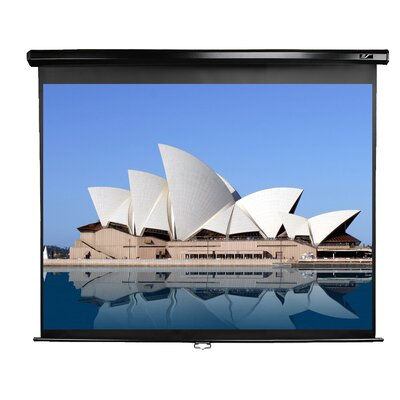 "Elite Screens Manual Pull Down MaxWhite 92"" Projection Screen in Black Case"