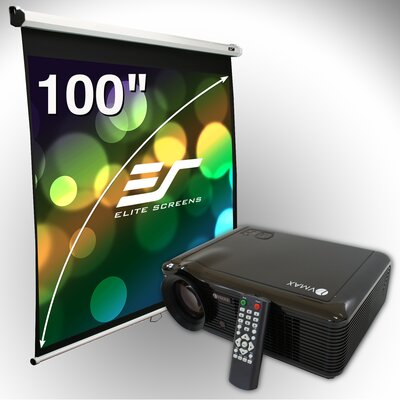 "Elite Screens 100"" Manual Screen & LED Projector Bundle"