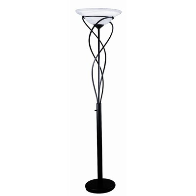 Lite Source Majesty  Torchiere Floor Lamp in Black
