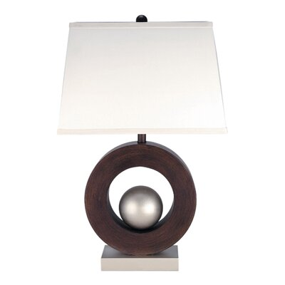 Lite Source Circuline  Table Lamp in Silver and Dark Walnut