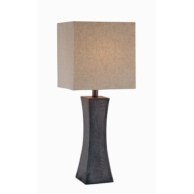 Lite Source Table Lamp with Tan Fabric Shade in Dark Walnut