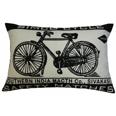 "Koko Company Match Co 13"" x 20"" Pillow with Ecru / Black Bicycle Print"