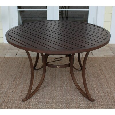 Hospitality Rattan Outdoor Slatted Aluminum Round Dining Table