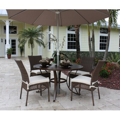 Hospitality Rattan Grenada Patio 5 Piece Slatted Dining Set