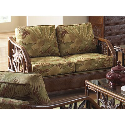 Hospitality Rattan Cancun Palm Loveseat with Cushions