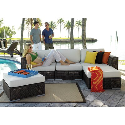 Hospitality Rattan Soho 5 Piece Deep Seating Group with Cushions