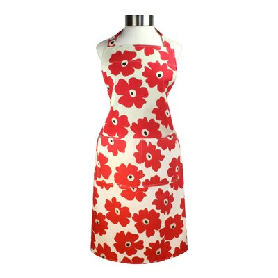 "MU Kitchen MUincotton 27"" x 35"" Full Apron in Red Poppy"