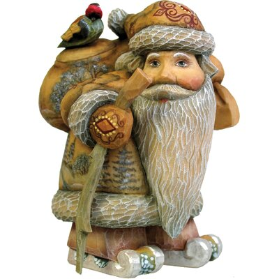 G Debrekht Hand-Crafted Downhill Kris Kringle Statue