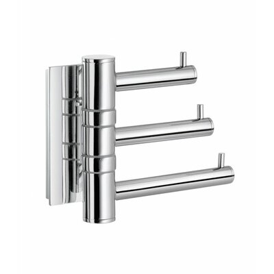 Smedbo Pool Swing Arm Triple Hook in Polished Chrome