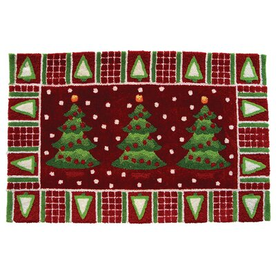 Homefires Accents Seasonal Three Trees in Snow Novelty Rug