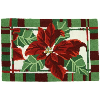 Accents Christmas Painted Poinsettias As Pictured Novelty Rug