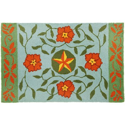 Western Floral and Star - Blue Rug