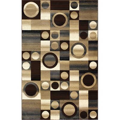 Central Oriental Pinnacle Contours Brown Multi Rug