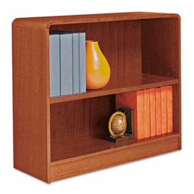 Alera® Radius Corner Bookcase, Finished Back, Wood Veneer, 2-Shelf, 36x12x30, Cherry