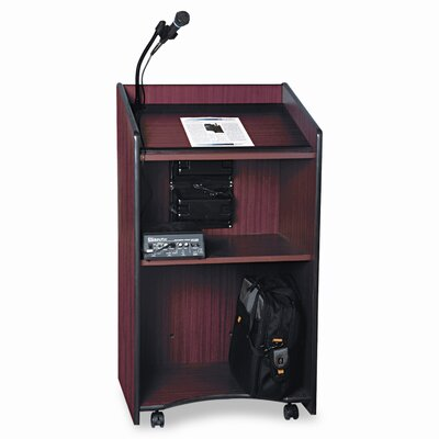AmpliVox Sound Systems Presidential Plus Wireless Sound Lectern, 25-1/2w x 20-1/2d x 46-1/2h, Mahogany