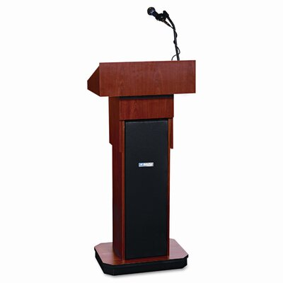 AmpliVox Sound Systems Presidential Plus Adjustable Wireless Column Lectern, 20 x 13 x 46-1/2, Mahogany