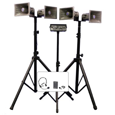 AmpliVox Sound Systems Deluxe Wireless Quad Half-Mile Hailer Kit with Heavy Duty Tripods