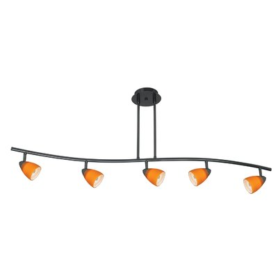 Serpentine Five Light Track Light with Red Spot Glass in Dark Bronze