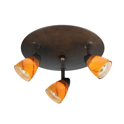Cal Lighting Serpentine Three Light Track Light with Amber Swirl Glass in Rust