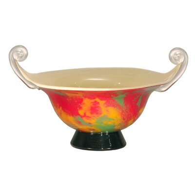Dale Tiffany Footed Bowl in Orange Burst